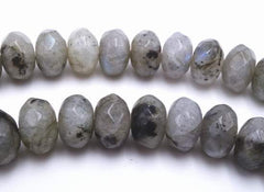 Mystical Faceted Grey Labradorite Rondelle Beads