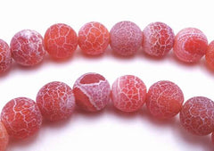 Passionate Matte 6mm Red Fire Agate Beads