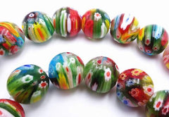 Large Vibrant Medley of Colours Millefiori Flower Beads -12mm