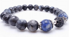 Faceted Black Moonstone and Sodalite  8mm Bead Bracelet