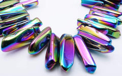 Fantastic Electro -Plated Rainbow AB  Crystal Icicle Beads