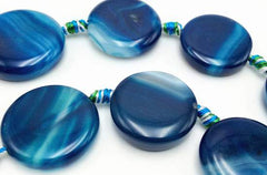Superb Deep Marine Blue Banded Agate Button Beads
