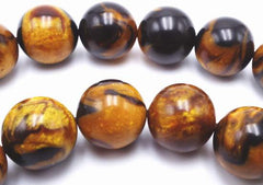 Golden Brown 10mm Tiger Calsilica Beads