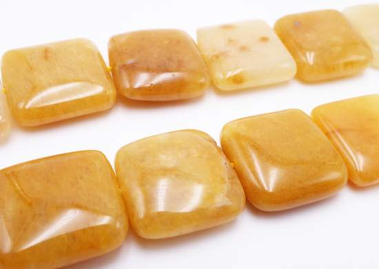 Lovely Natural Yellow Jade Square Beads