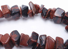 Earthy Mahogany Obsidian Chip Beads
