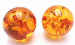 4 Elegant Honey Yellow 21mm Amber Beads