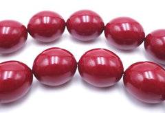 Large Passionate Big Red Burgundy Amber Round Oval Beads