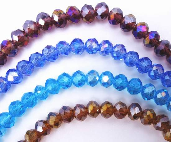 Vibrant Faceted Crystal Rondelle Beads -Light purple, Ocean blue, Aquamarine and Gold yellow