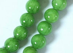 Large Crisp Apple Green Jade Beads - 10mm or 12mm