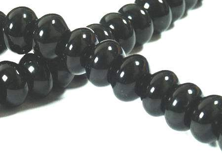 Egyptian Black Onyx Rondelle Bead Strand-8mm