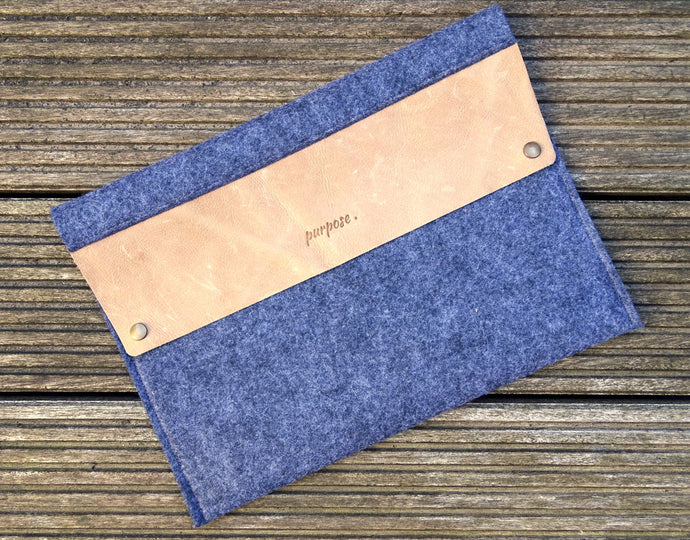 Laptopsleeve 15 inch macbook - grijs/bruin