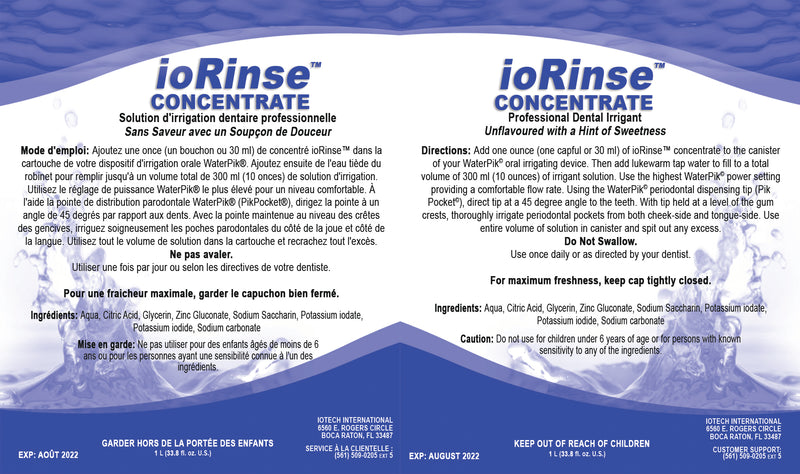 ioRinse Concentrated Irrigant 1L (apple-mint) - Case of 12.  Professional Case Discount Applied