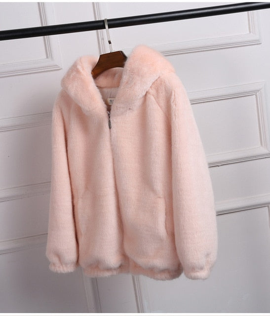lovepeapomelo 2019 New Faux Fur Coat With Hood High Waist Fashion Slim Black Red Pink Faux Fur Jacket Fake Rabbit Fur D390