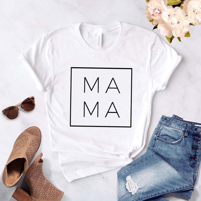 Mama Square Women tshirt Cotton Casual Funny t shirt Gift For Lady Yong Girl Top Tee 6 Color Drop Ship S-807