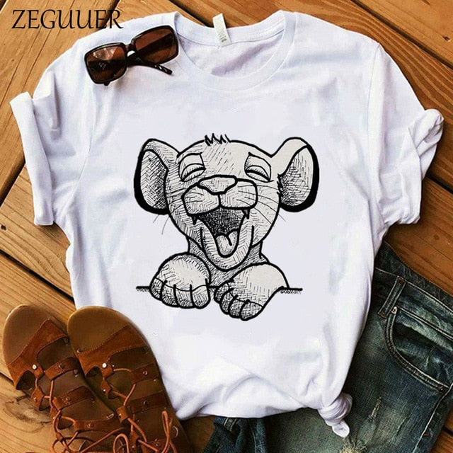 The Lion King Cartoon Print T Shirt Two Little Lions Vogue Casual Short Sleeve Women Printed O Neck T Shirt Hakuna Matata Tees