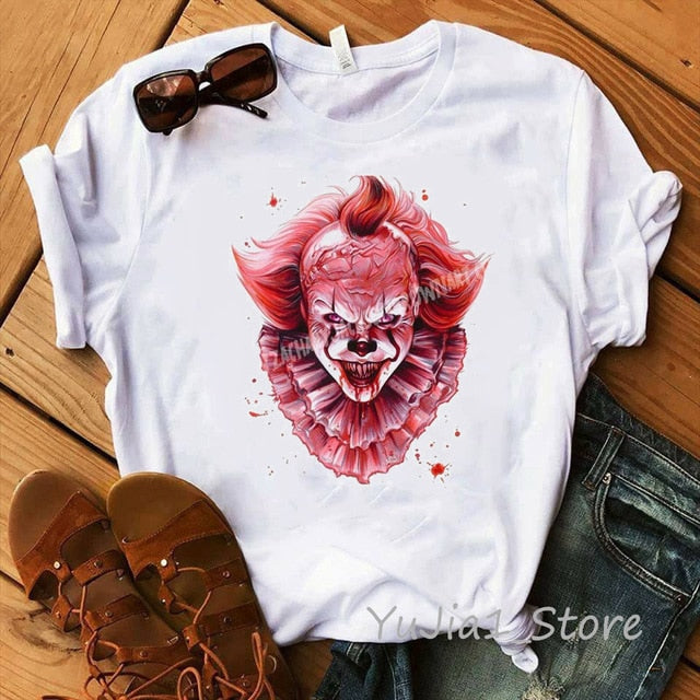 Funny IT Movie T-Shirt femme 2019 Summer Hot Stephen King Printed Tshirt Clown Custom halloween Pennywise T shirt women Tops Tee