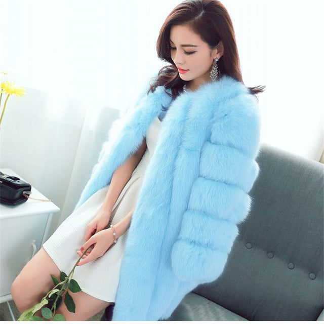 Women Winter Fluffy Faux Fur Coat High-Quality Thick Imitated Fox Fur Overcoat Female Warm Outwear
