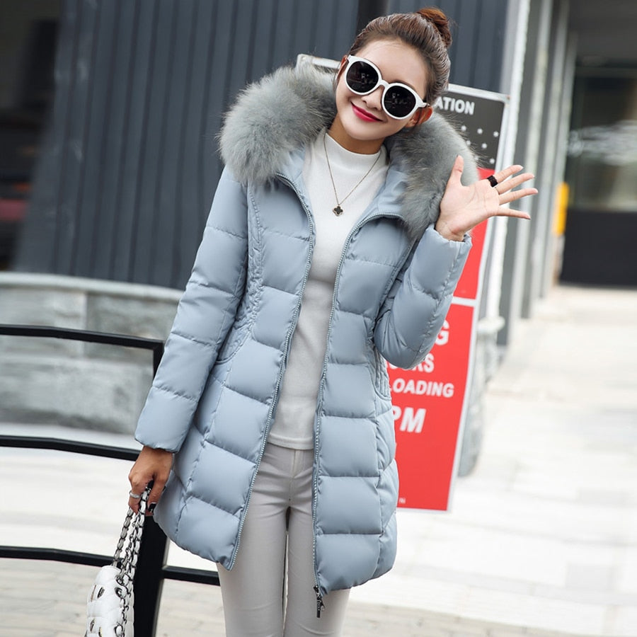 Winter Mid-long Hooded Down Coats Women Fashion Solid Loose Thicken Cotton Jackets Coats Female Warm Plus Size Korean Parkas New