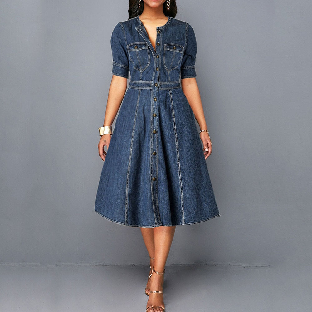 Ladies jeans Dress Spring Autumn Women long sleeve Slim O neck Half Sleeve Denim Dress Female Bow Midi Dress plus size 2XL