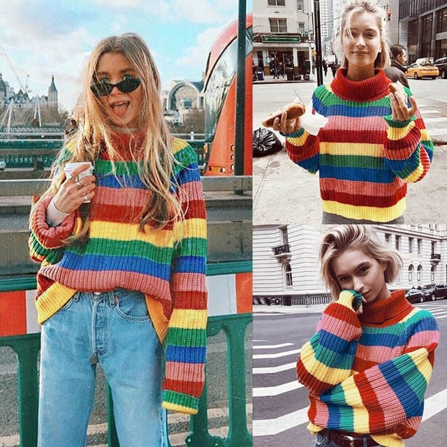 Rainbow Colorful Stripe Sweater Women Casual Sweaters Autumn Fashion Turtleneck Knitwear Loose Pullovers Jumper Pull Femme