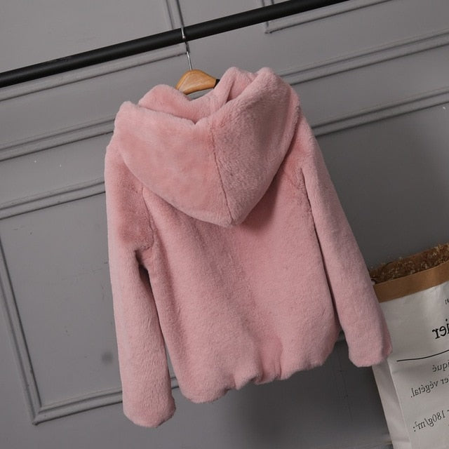 2019 Faux Fur Coat With Hood High Fashion Slim Waist Black Red Pink Faux Fake Fur Jacket Rabbit Fur