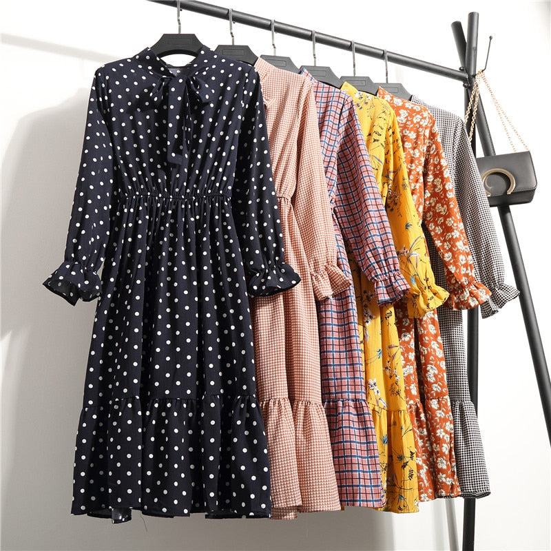 Korean Black Shirt Vestidos Office Polka Dot Vintage Autumn Dresses Women Dresss Pring 2019 Midi Floral Long Sleeve Dress Female