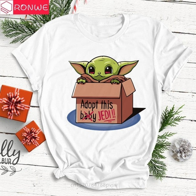 2020 New Star Wars Women's Fashion The Mandalorian Child Baby Yoda T-Shirt Girl Short Sleeve Tops Hipster Tee Female Clothes