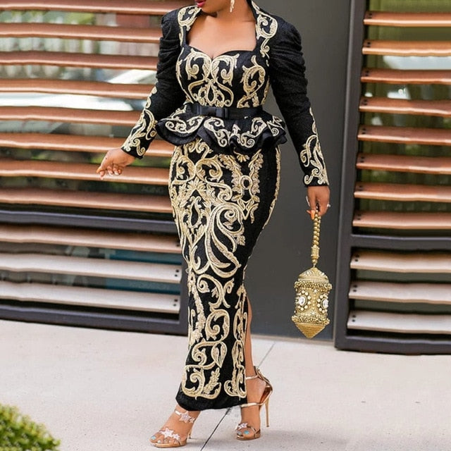 Black Floral Printed Long Evening Party Dress Elegant Long Sleeve 2020 Vintage Plus Size Women Maxi Dresses Peplum Ruffle Retro