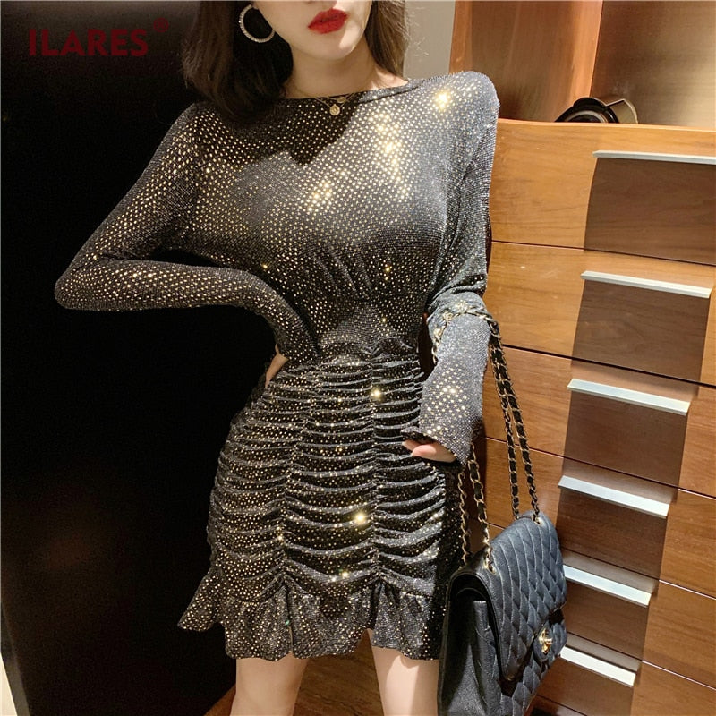ILARES Dress Women Party Fish Tail Womens Vintage Elegant Black Thin Sexy Winter Sequin Bodycon Mini Dresses Woman Night Glisten