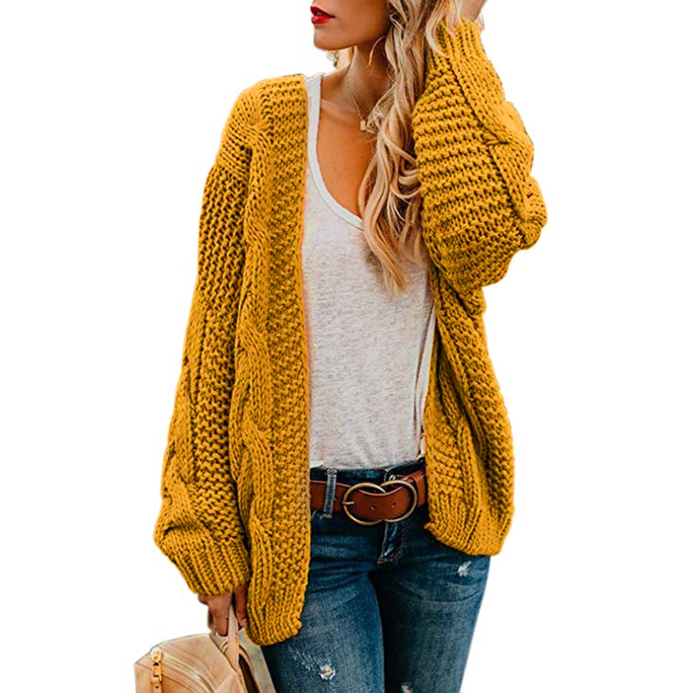 2019 Open Front Cardigan Sweaters Winter Autumn Woman Sweater Knitted Long Sleeve Cardigan Casual Outerwear Tops Cardigan Women