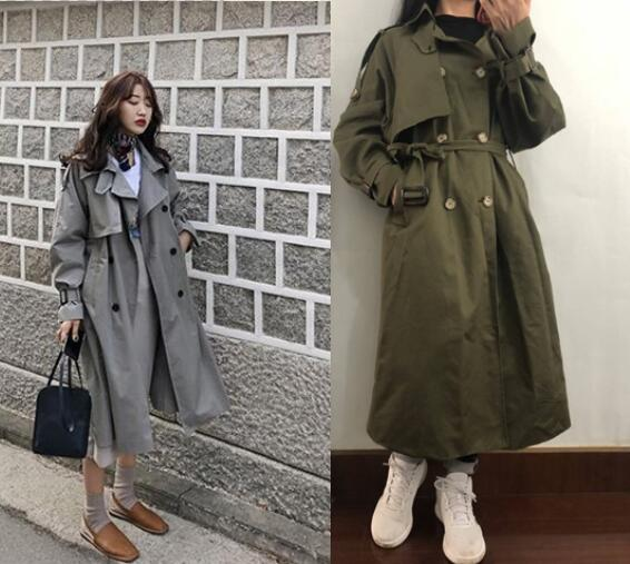 Hot selling spring casual loose cotton trench coat with sashes oversize double breasted vintage cloak overcoats windbreaker
