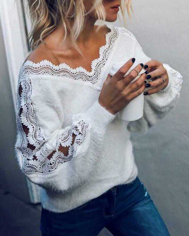 Sexy V Neck Lace Hollow Knit Sweater Autumn Winter Long Sleeve Pullover Tops Elegant Women White Jumper Pull Femme Free Shipping