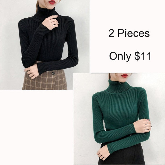 Bonjean Autumn Winter Knitted Jumper Tops turtleneck Pullovers Casual Sweaters Women Shirt Long Sleeve Tight Sweater Girls