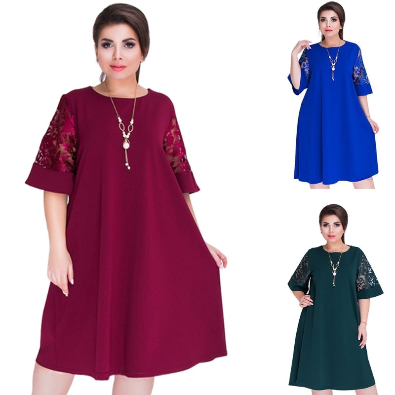 Plus Size Splice Loose Lace Summer Dresses Plus Size Women Knee-Length Office Dress fr024