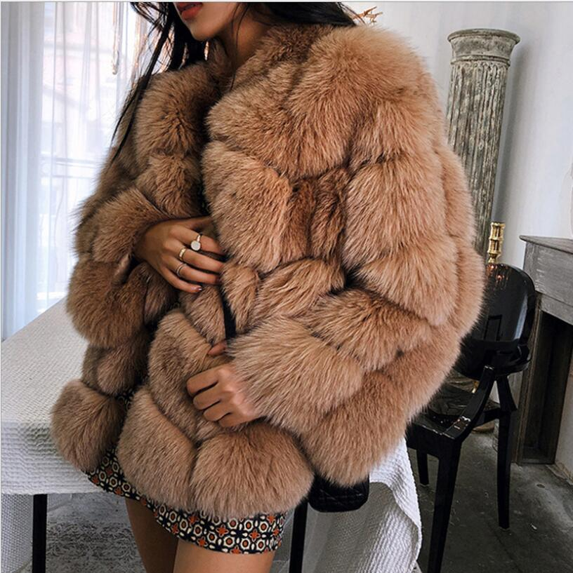 2018 new winter imported fox fur coat female temperament warm womens plus size fashions faux fur coat coat