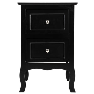 Country Style Two-Tier Night Table Large Size Black