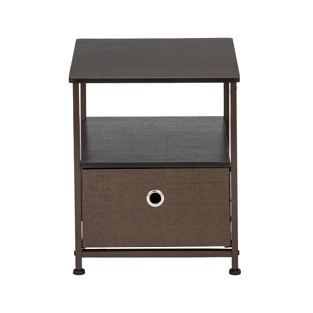 Nightstand 1-Drawer Shelf Storage- Bedside Furniture & Accent End Table Chest For Home, Bedroom, Office, College Dorm, Steel Frame, Wood Top, Easy Pull Fabric Bins Brown