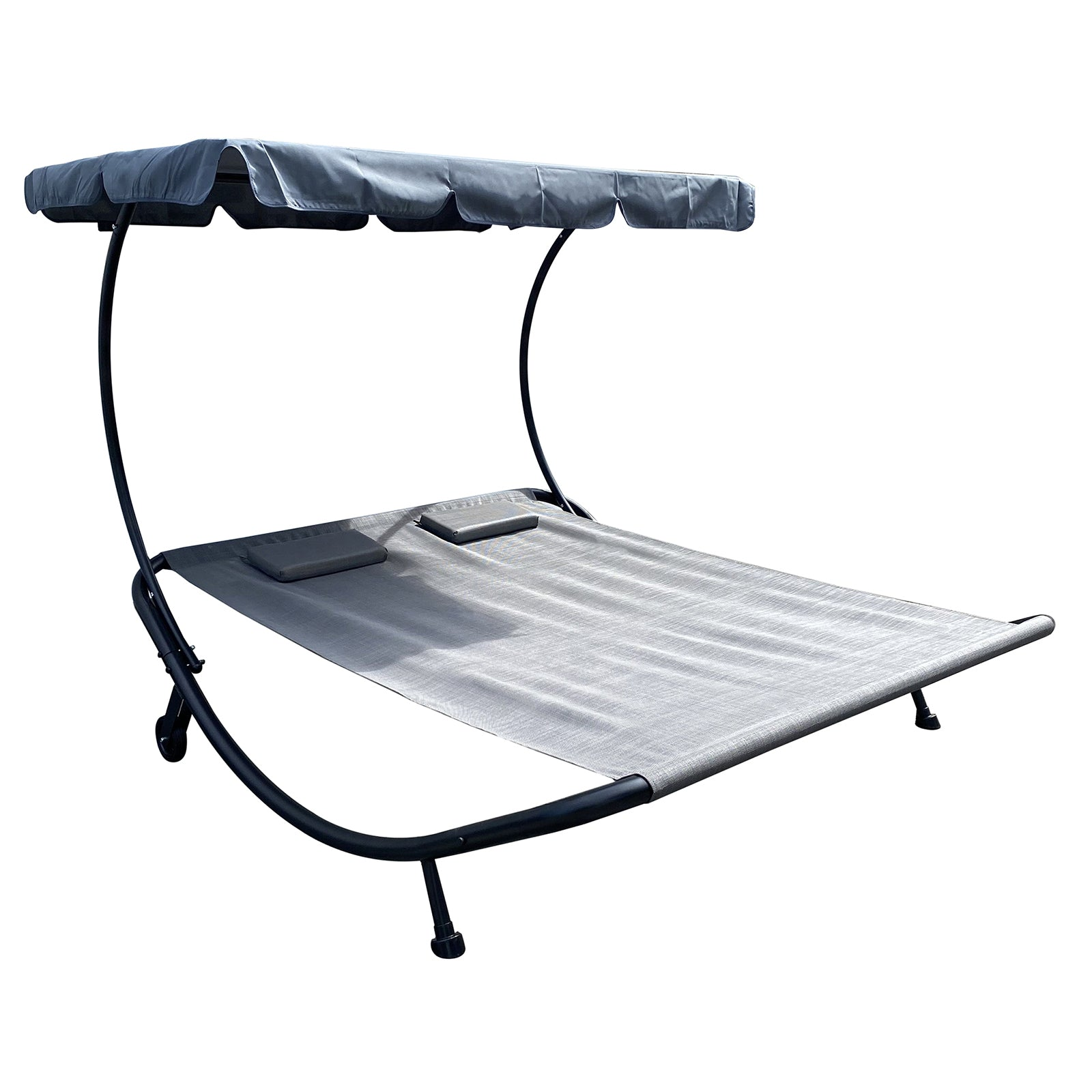 Outdoor Portable Double Chaise Lounge Hammock Bed With Adjustable Canopy and Headrest Pillow for Sun Room, Garden, Courtyard, Poolside,Beach, Grey