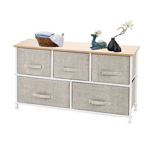 2-Tier Wide Closet Dresser, Nursery Dresser Tower With 5 Easy Pull Fabric Drawers And Metal Frame, Multi-Purpose Organizer Unit For Closets, Dorm Room, Living Room, Hallway, Linen/Natural