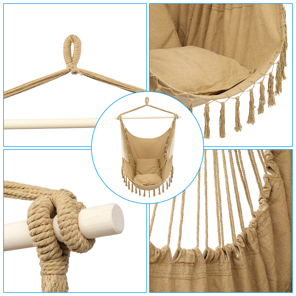 1.5*1.2m Tassel Plus Pillow Hanging Chair Coffee Color