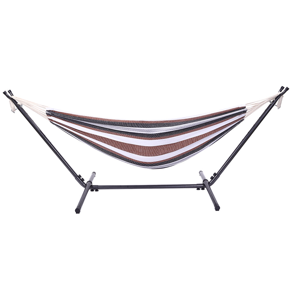 [US-W]Professional Black & Silver Flowers Hammock Stand with Polyester Coffee Stripe Hammock