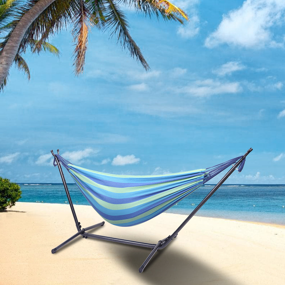 [US-W]Portable Outdoor Polyester Hammock Set Blue & Green