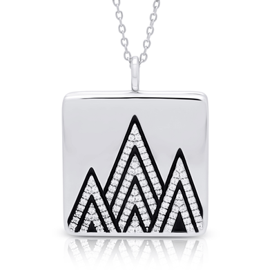 "Silverissimo Collection Locket Pendant ""Dolomiti"" Mountains Sterling Silver 925 & Black Enamel Clear Swarovski Zirconia Locket Pendant"