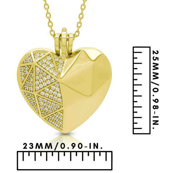 "Silverissimo Collection Locket Pendant ""Sabina's Heart"" Gold Plated Sterling Silver 925 & Swarovski Zirconia Locket 3D Pendant Necklace"