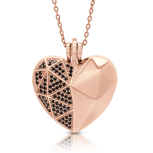 "Silverissimo Collection Locket Pendant ""Sabina's Heart"" Rose Gold Plated Sterling Silver & Swarovski Ceramics 3D Locket Pendant Necklace"