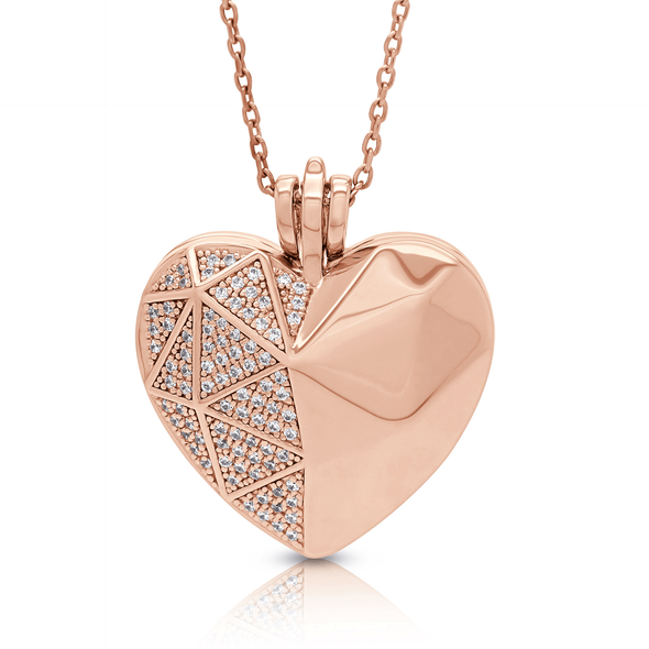 "Silverissimo Collection Locket Pendant ""Sabina's Heart"" Rose Gold Plated Sterling Silver & Swarovski Zirconia Locket 3D Pendant Necklace"