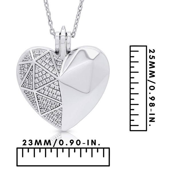 "Silverissimo Collection Locket Pendant ""Sabina's Heart"" Sterling Silver 925 & Clear Swarovski Zirconia Locket 3D Pendant Necklace"