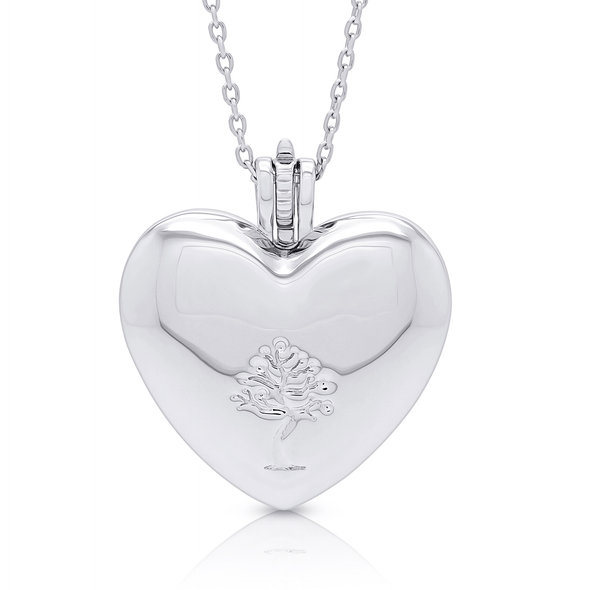 "Silverissimo Collection Locket Pendant ""Sabina's Heart"" Sterling Silver 925 & Red Swarovski Zirconia Locket 3D Pendant Necklace"