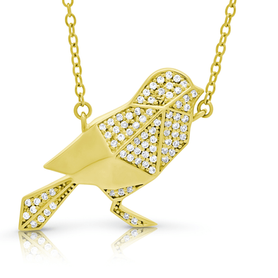 "Silverissimo Collection Tails Pendant ""Baby Magpie"" Bird Gold Plated Sterling Silver 925 & Clear Zirconia Double Sided 3D Necklace"
