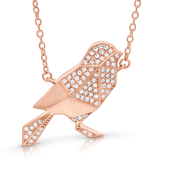 "Silverissimo Collection Tails Pendant ""Baby Magpie"" Bird Rose Gold Plated Sterling Silver 925 & Clear Zirconia Double Sided 3D Necklace"